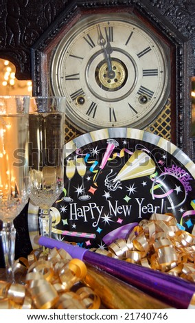 Clock about to strike midnight on New Year\'s Eve