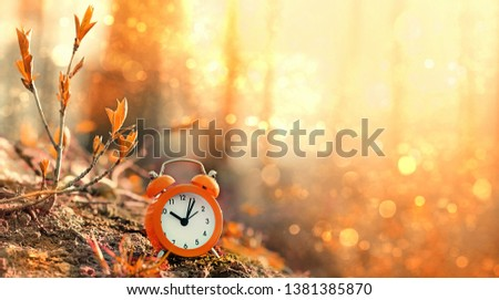 clock alarm in autumn nature forest. concept make time for nature, environment. Daylight savings time. Symbolic still life representing autumn season. beautiful fall season scene. copy space #1381385870