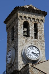 Clock and bell tower to Church of Notre Dame de L'Esperance in Cannes. Cote d'Azur. France
