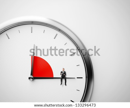 Clock and businessman sitting on minute hand with cup of coffee. Lunch time concept.