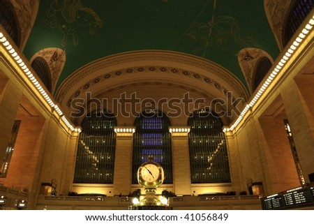 Clock and ceiling constellations in great hall in Grand Central Terminal - New York