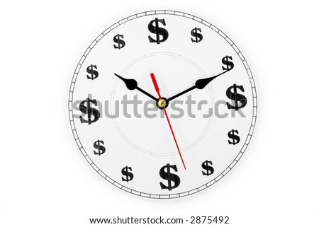 clock and dollar sign, concept of time is money - stock photo