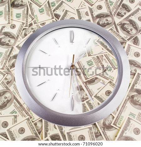 Clock and 100 dollars banknotes on a white background