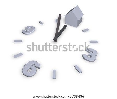 clock and house on white background - 3d illustration