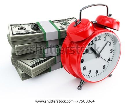 clock and money stacks