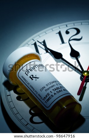 Clock and Pill Bottle, concept for Healthcare And Medicine