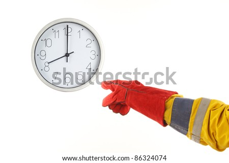 Clock and worker's hand over white. Time for work concept