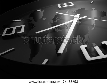 clock and world map - stock photo