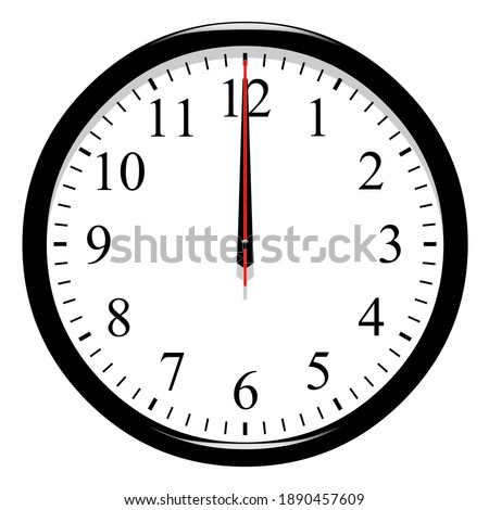 Clock at 12 o'clock on white background  Сток-фото ©