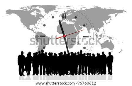 clock background and business people silhouette