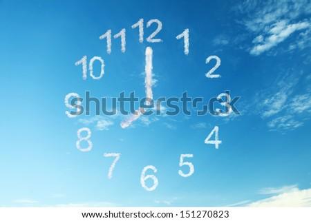 clock cloud on blue sky