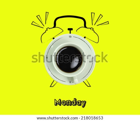clock cup of fresh espresso with clock sign with yellow background of the Monday