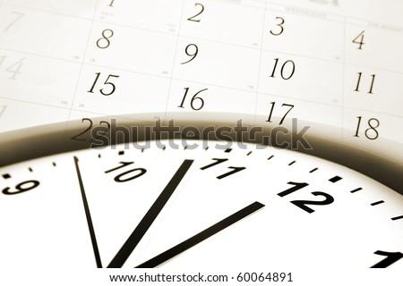 Clock face and calendar numbers