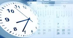 Clock face and calendars composite
