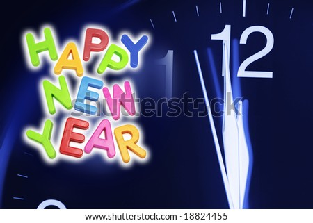 Clock Face and New Year Greetings