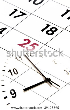 Clock face and numbers on calendar.