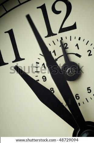 Clock face closeup at alarm time (Twelve o`clock)