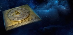 Clock face of the old watch on the night sky background with stars. Philosophy image of space time dimension and time transience.