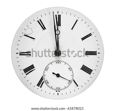 Clock face showing a minute to midnight