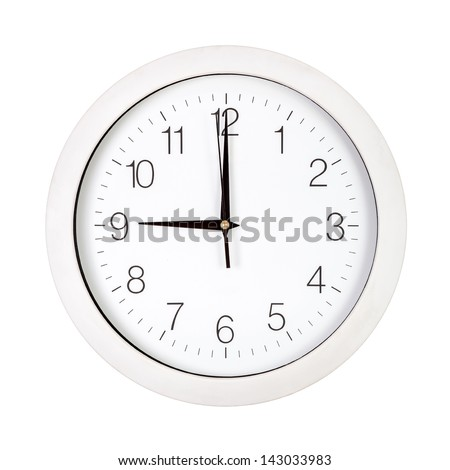 Clock Face Showing 12 O'clock Clock Face Showing Nine