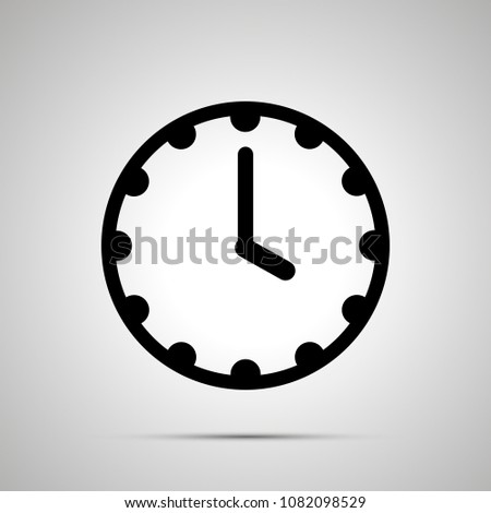 Clock face showing 4-00, simple black icon isolated on white