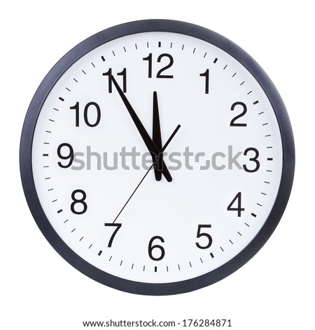 Clock face showing the hands at five minutes to midnight #176284871