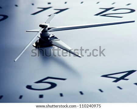 Clock face with focus on center. Time concept.