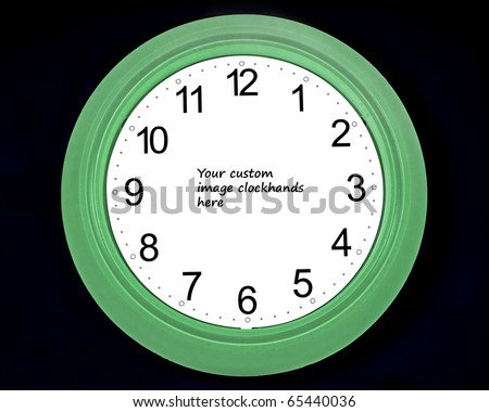 clock face with room for insertion of image for clock hands