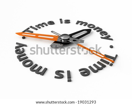 Clock-face with text. Isolated.