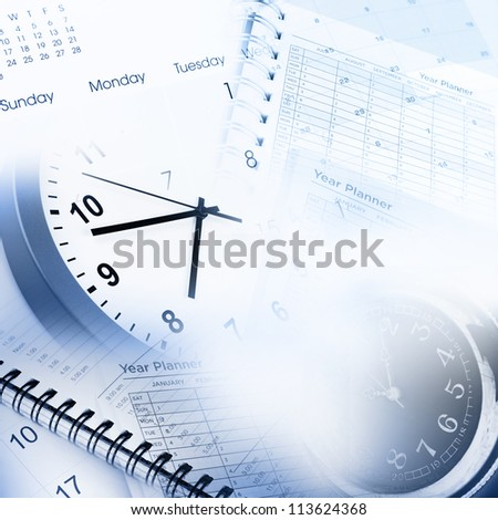 Clock faces, calendar and diary pages