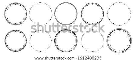 Clock faces. Vintage clocks bezel, seconds timer and 12 hours watch round scale. Clocks frames silhouette, deadline hour stopwatch face. Isolated  symbols set