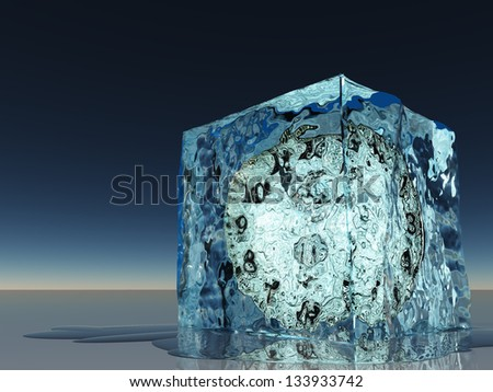 Clock frozen within ice