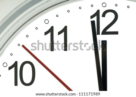clock hands indicate almost twelve