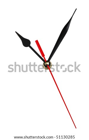 Clock hands isolated on white background. Copy space for your dial