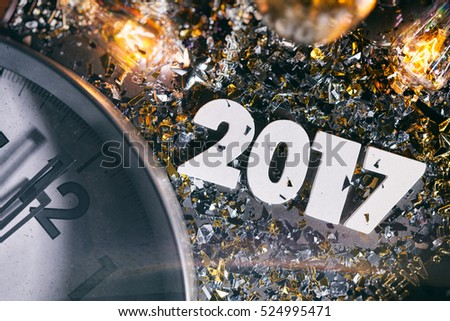 stock photo: 2017 and confetti