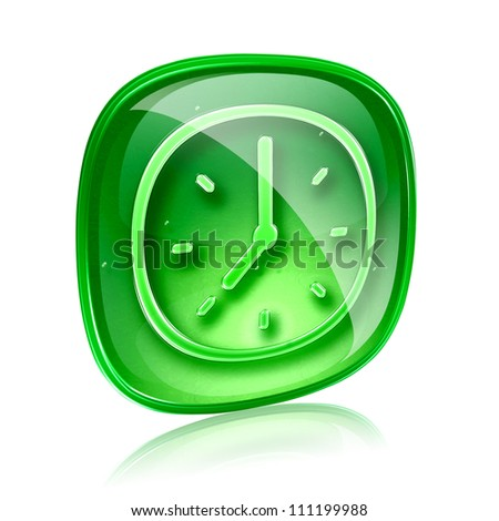 clock icon green glass, isolated on white background