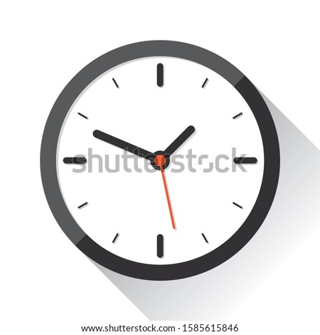 Clock icon in flat style, timer on white background. Business watch, design element for you project. Raster copy Foto stock ©