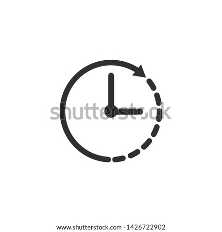 Clock icon, time this illustration on white background