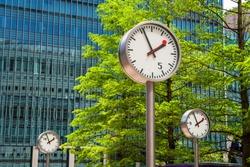 Clock in Canary Wharf. London, England