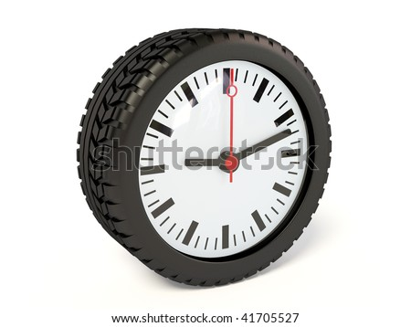 clock in tyre on white background