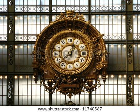 Clock inside Orsay Museum, Paris, France