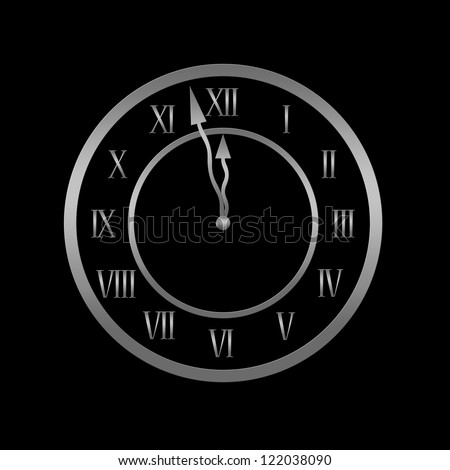 Clock is showing almost twelve, midnight or new year concept