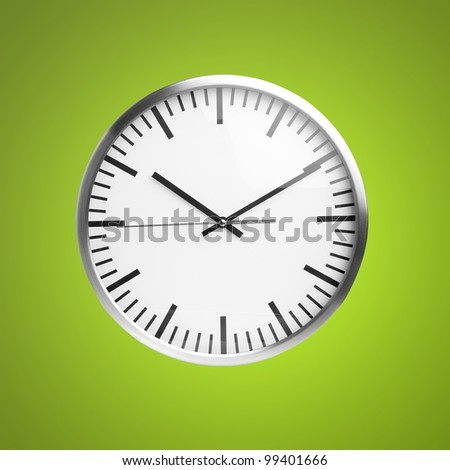 clock isolated over green background