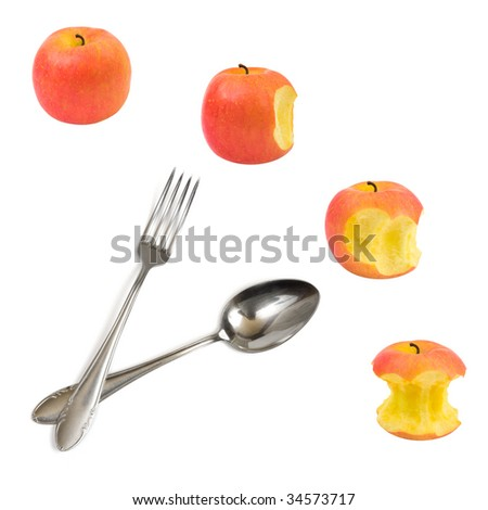 Clock made of apples isolated on white background