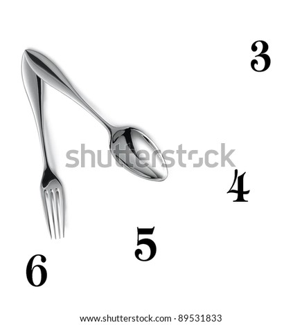 Clock made of spoon and fork isolated