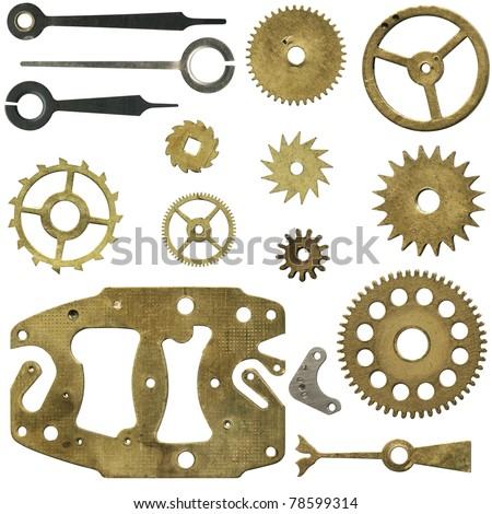 Clock mechanism, a set of gears and arrows. Isolated with clipping path
