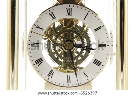 Clock mechanism isolated on the white background