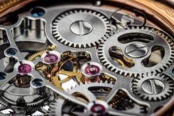 Clock mechanism macro shot