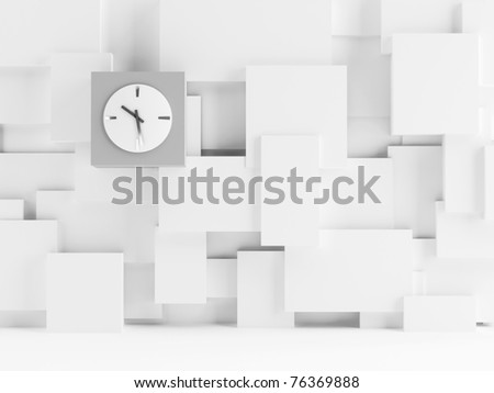 Clock on a wall consisting of white cubes as background