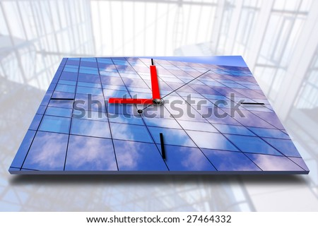 Clock on business architecture background